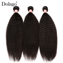 Bundles Human-Hair-Extension Dolago Straight Weave Brazilian-Hair 3 Yaki Hair-Products