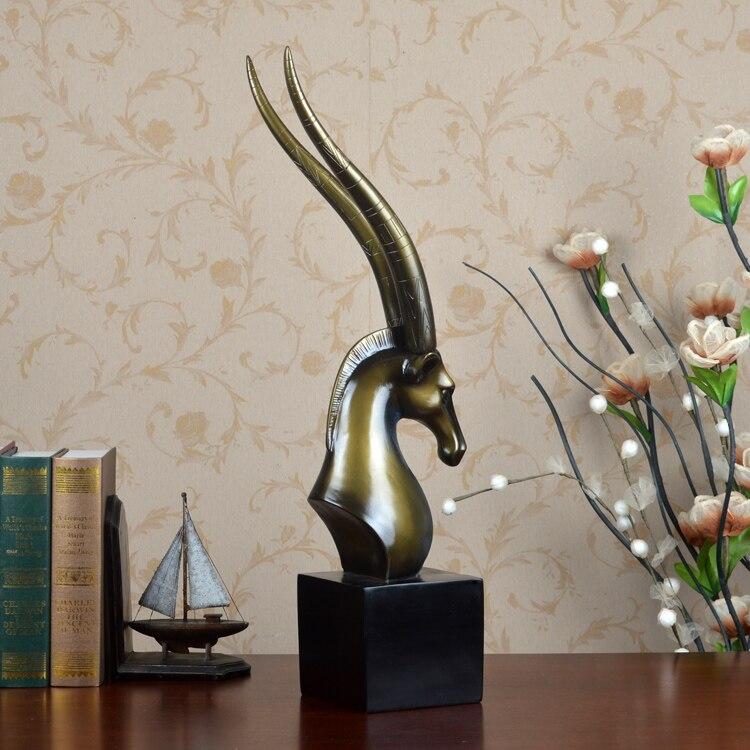 Полимерная для домашнего декора статуя голова антилопы Ретро отель фэн шуй креативный номер статуя Рождественское украшение Высокое Качество Классическое ремесло - 4