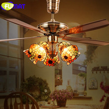 FUMAT Tiffany Ceiling Fan Light LED Stained Glass Shade Hanging Lighting Fixtures luminaria lights modern pendant ceiling lamps