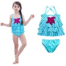 Детские купальники для девочек хлопок, цельный купальный костюм бикини Русалка купальники наряды Комплекты одежды K330