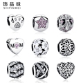 9 Stlye Authentic 925 Sterling Silver European Heart, Footprint Pandora Charms Beads Fit Bracelet Pendant Original Jewelry