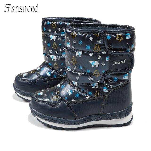 Fansneed/Детские зимние сапоги для девочек из чистой шерсти, теплые зимние сапоги, непромокаемая кожаная обувь с милым принтом, теплая зимняя обувь до-30 градусов