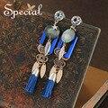 Special new fashion natural sea shell brincos longos brincos do parafuso prisioneiro de couro pu borla strass jóias presentes para mulheres ed0043