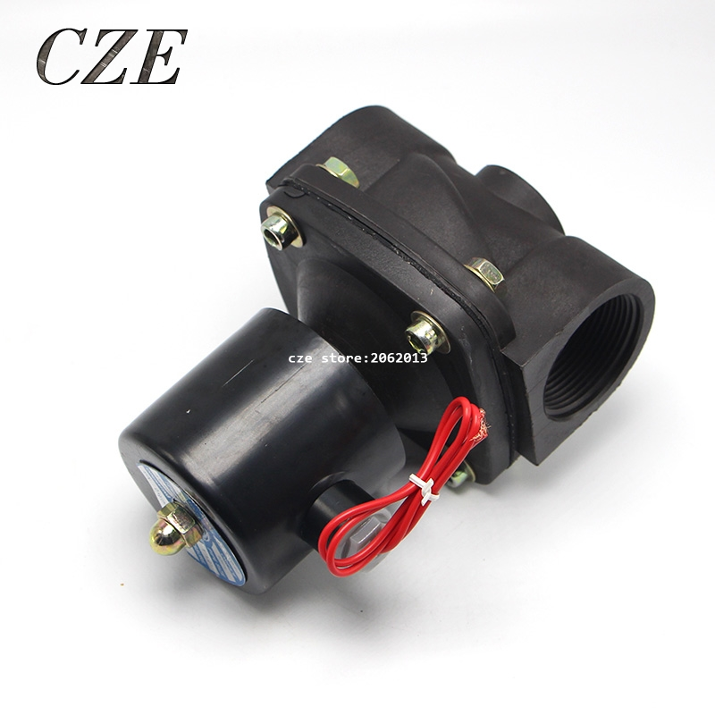 Plastic Water Electromagnetic Solenoid  Valve Anticorrosion Type 2W-400-40 1.5 AC220V 1 2 built side inlet floating ball valve automatic water level control valve for water tank f water tank water tower