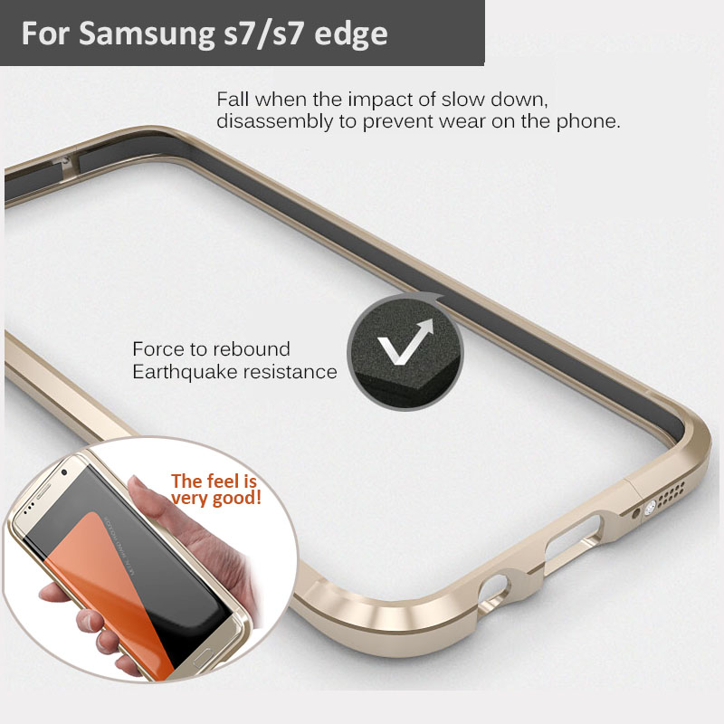 S7 S7edge Bumper Case+Sticker LUPHIE Shockproof Enclosure Phone Case Bumper Cover For Samsung Galaxy S7 S7 edge metal coque