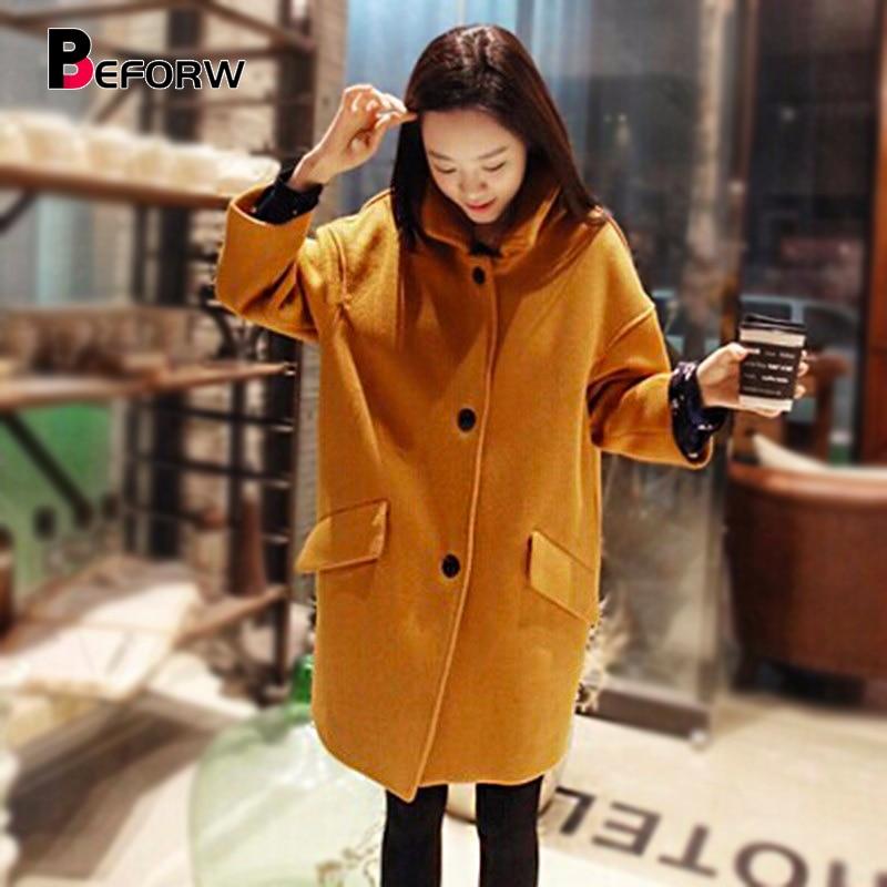 BEFORW Winter Fashion Korea Long Sleeve Coat Women Loose Plus Size   Trench   Coat New Harajuku Casual Long Coat Women Clothing