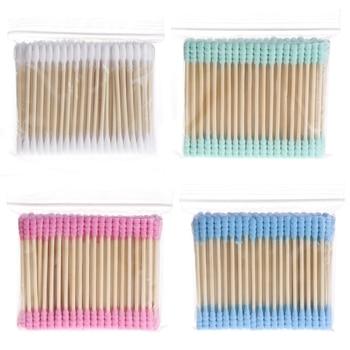 100 Pcs Cabeça Dupla Maquiagem Cosméticos Cotonete de Algodão Mulheres Vara Orelha Cotonetes Para Dicas de Limpeza Médica Ferramentas Orelhas de Nariz Varas de Madeira 1