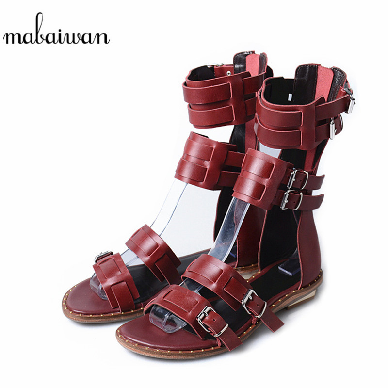 Mabaiwan New Women Casual Shoes Summer Beach Sandals Flip Flops Genuine Leather Shoes Woman Buckle Gladiator Breathable Flats mabaiwan women shoes genuine leather summer sandals casual platform wedge shoes woman rivets gladiator wedges breathable sandal