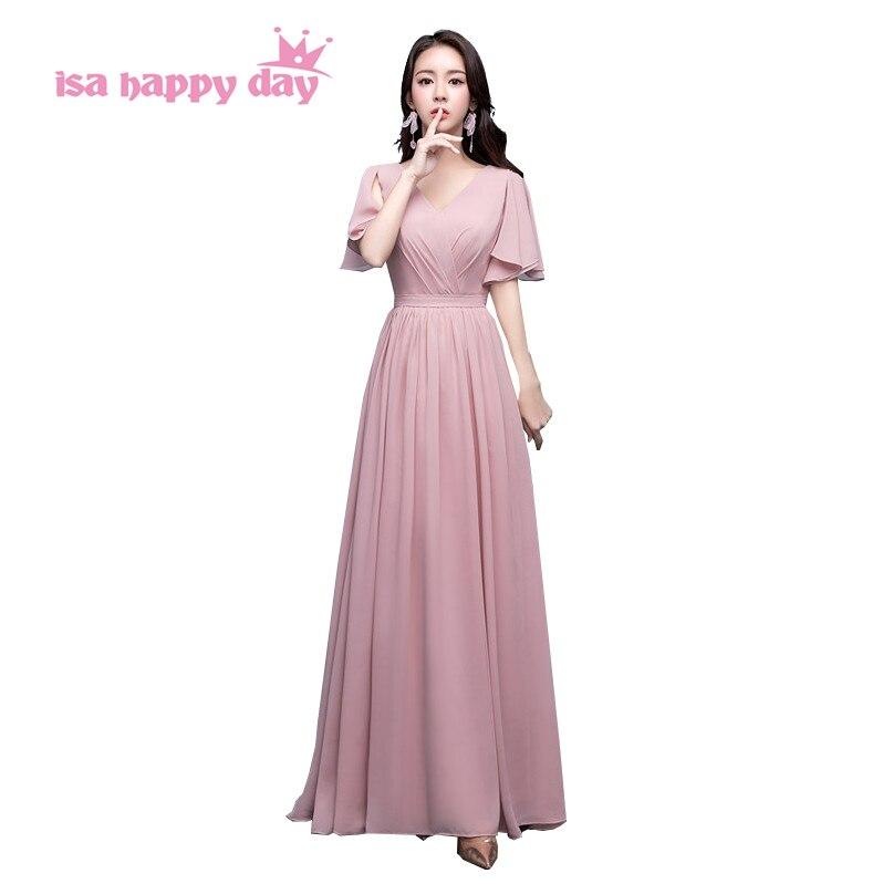 formal women v neck   dresses   blush color   bridesmaid   chiffon long   dress   modest   bridesmaids     dresses   cap sleeves under 100 H4191