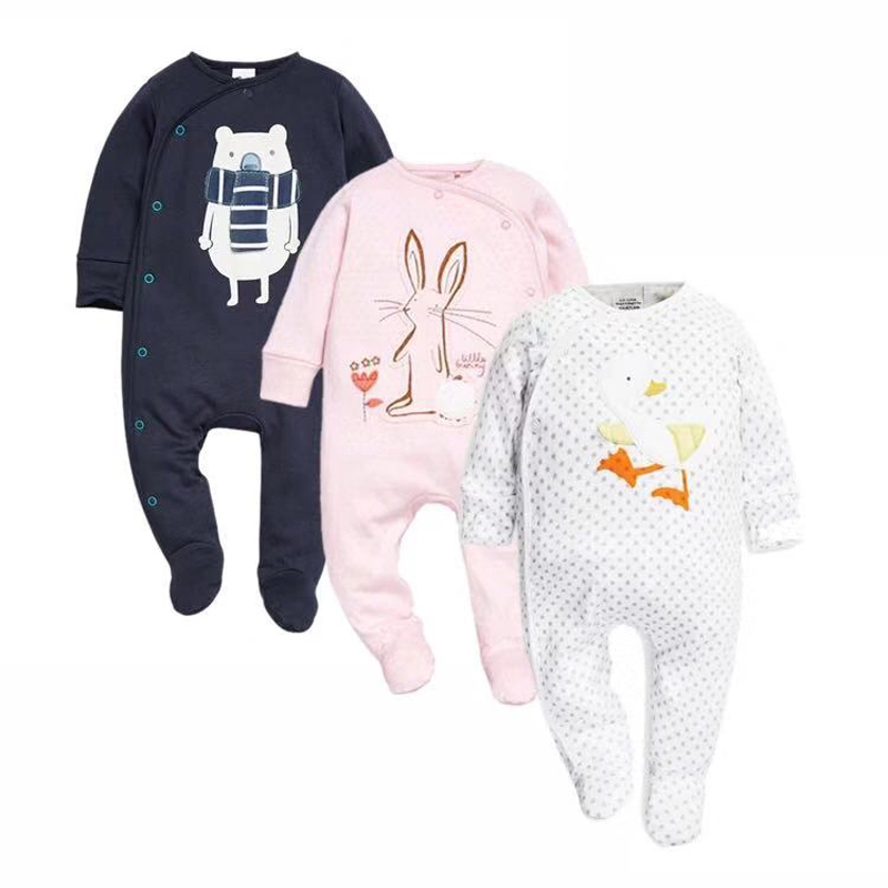 Newborn baby boys girls clothes footed jumpsuit infant long sleeve 3 6 9 12 months cotton lovely print pajama