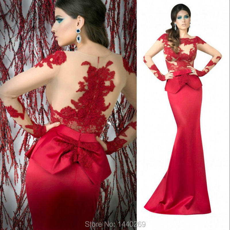 79ddb9300c0f 2017 Mermaid Scoop Neck Sheer Tulle Lace Appliques Sleeve Long Red Evening  Dress Peplum Satin Maxi Formal Prom Gowns