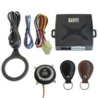 BANVIE Leather Key Auto Car Alarm Engine Push Button Start Stop RFID Lock Ignition Switch Keyless Entry System Anti theft|Burglar Alarm| |  -