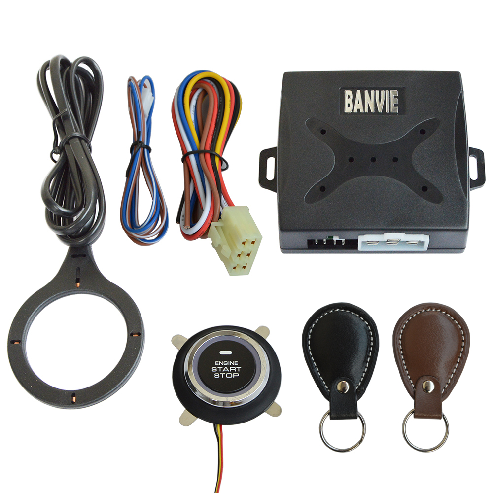 BANVIE Leather Key Auto Car Alarm Engine Push Button Start Stop RFID Lock Ignition Switch Keyless Entry System Anti-theft