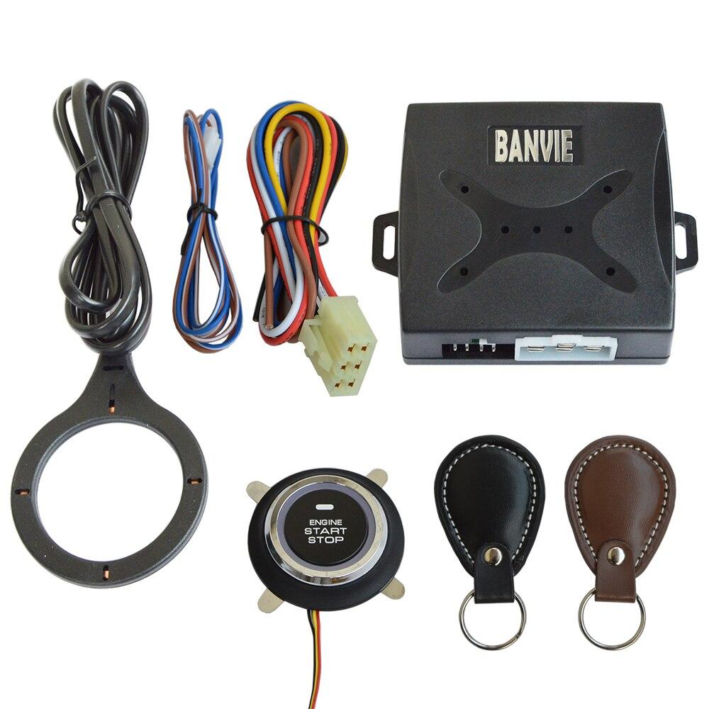 BANVIE cuir clé Auto voiture alarme moteur bouton poussoir démarrage arrêt RFID serrure interrupteur d'allumage sans clé système d'entrée antivol