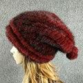 Новое поступление горячей продажи Русский стиль осень зима открытый теплый женские шапки Рождественский дизайн трикотажные реального норки меховая шапка женщины cap