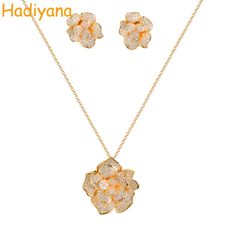 Jewelry Sets Rose Two Colors CN188 With Zirconia Earring Necklace Sets
