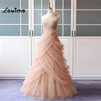 Sexy Long Pink Tulle Formal Evening Party Dress Floral Turkish Engagement Evening Gowns Dresses Lebanon Saree
