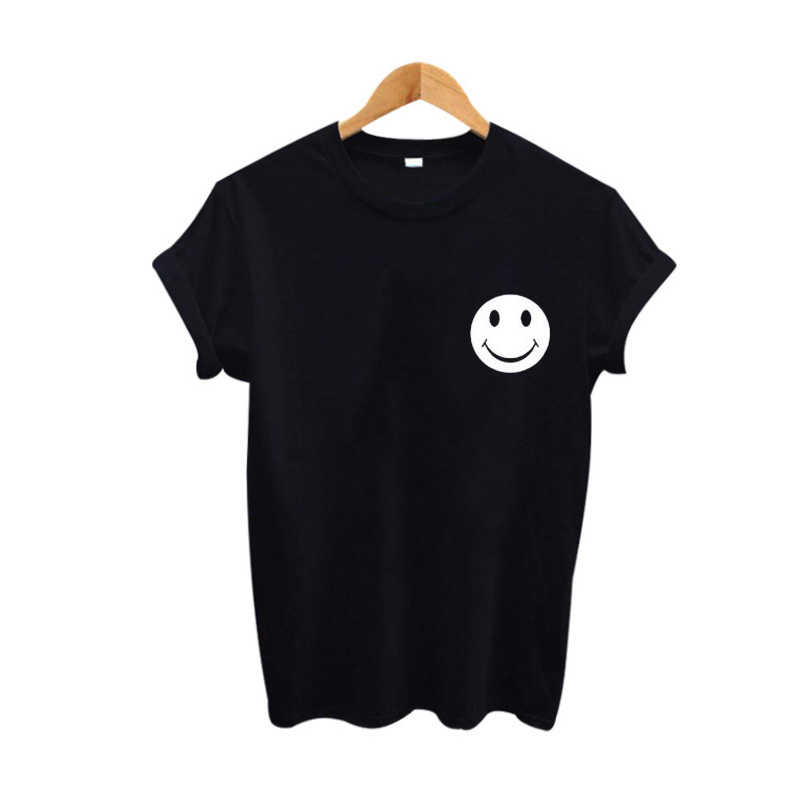 Smiley Face Logo Tshirt Women Tops Fashion Cute Cartoon Graphic Tees Women Funny Expression Tumblr Clothing Summer 2017