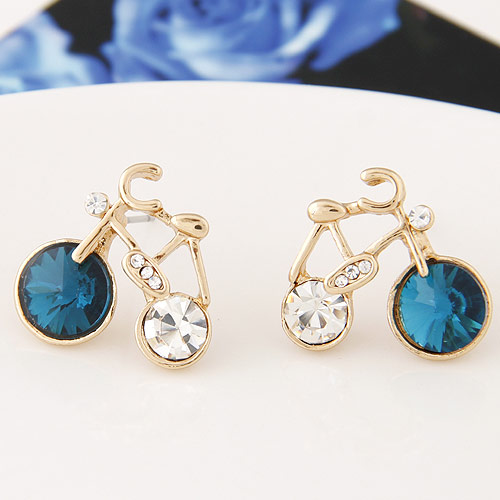 Fashion Gold Crystal Bicycle Bike Earrings Women Jewelry Fashion Accessories
