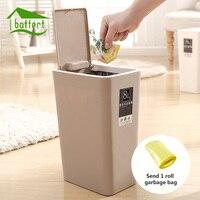 Forma criativa de Plástico Lata de lixo 8L/12L Tampa Pressionando Tipo de Lixo caixote do Lixo Da Cozinha Sala de Estar Banheiro Papel de Escritório cesta