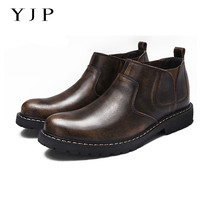 YJP Men Chelsea Ankle Boots Patent Leather Vintage Sewing Solid Color Slip On Shoes Elastic Band
