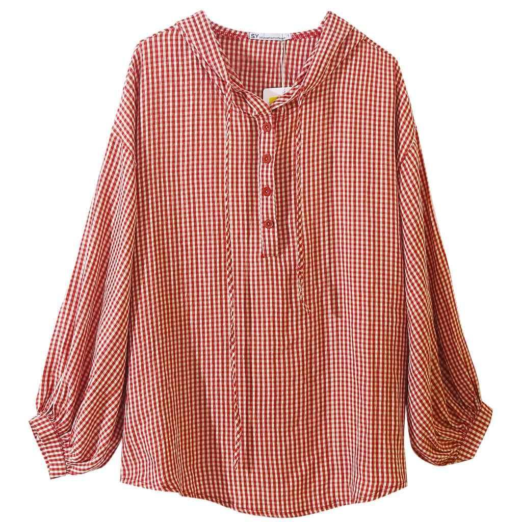 a999d485b38 ... Повседневная Свободная Женская клетчатая блузка с капюшоном  консервативный Стиль Женская хлопковая рубашка Топы консервативный стиль с длинным  рукавом ...