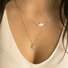 Летняя мода Золотая цепочка массивное ожерелье голубь двухслойный