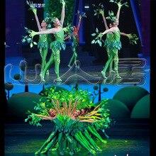 Trung Quốc Gió Vũ Trang Phục Ít Cây Nhảy Đầm Trình Diễn Trang Phục Con Lá Trang Phục Tập Thể Diễn Sân Khấu Quần Áo