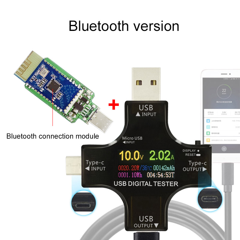 USB tester drahtlose Bluetooth DC voltmeter strom spannung USB-C PD meter volt amp amperemeter detektor energienbank-ladegerät anzeige