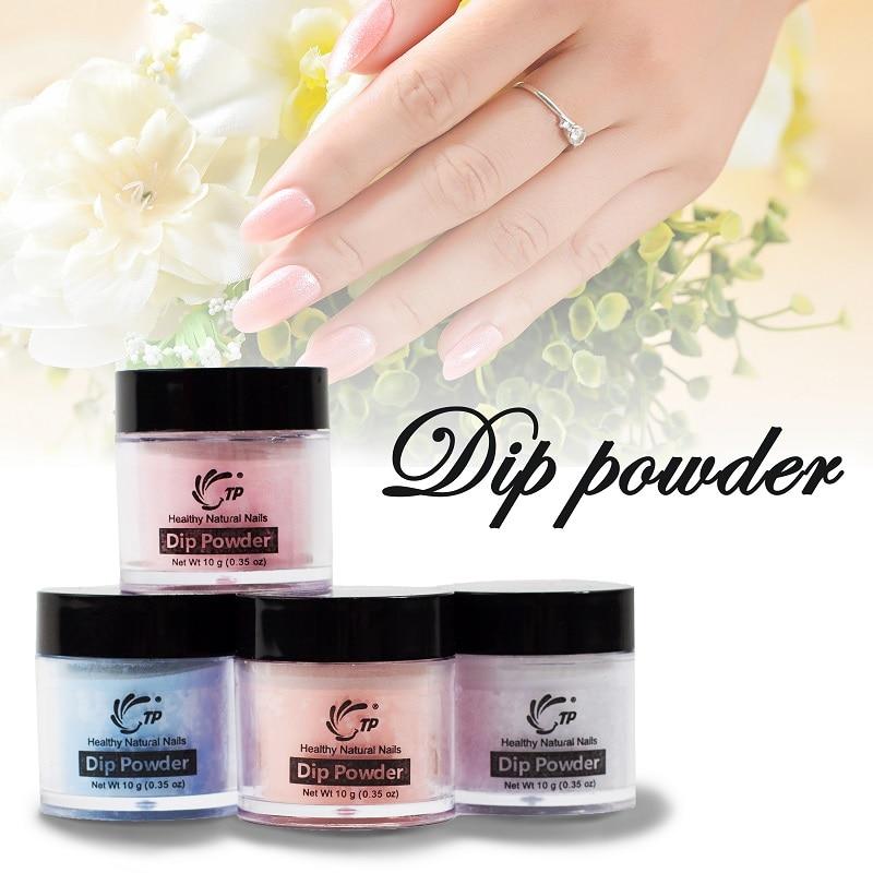 TP 4 pçs/lote Prego Diping Dip Set Pó Glitter Pó Nails Cor Saudável, Pó Da Arte Do Prego, natural Seca Nail Salon 10 g/caixa