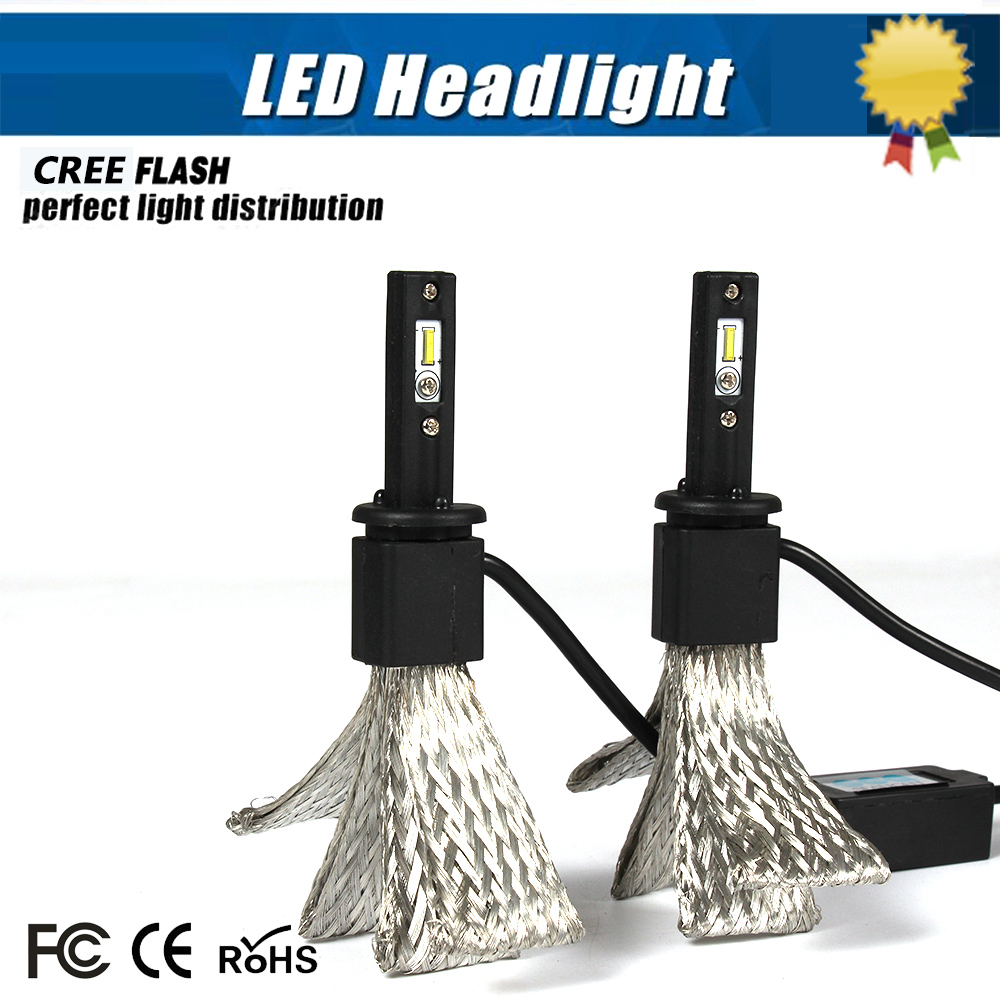 Super Bright Pair Auto Car COB H1 Replacement LED Headlight Kit Bulb Single Beam 35W 3400lm
