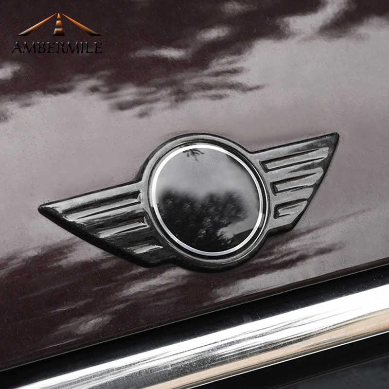 Logotipo do carro de fibra carbono frente capa emblema tronco traseiro emblemas etiqueta para mini cooper f54 f55 f56 f60 r60 r61 r55 r56 r57 countryman