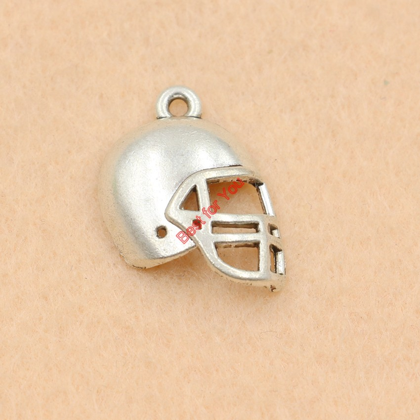 12//36pcs Tibetan Silver Football Helmet Charms Pendants Jewelry Making Findings