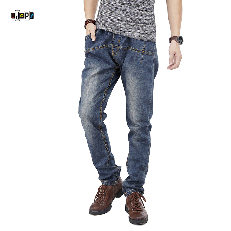 Idopy Men`s Stretchy Regular Fit Hiphop Drawstring Denim Joggers Jeans Trousers For Male Hipster Plus Size 30-46 idopy men s street style denim pants camouflage camo joggers stretchy drawstring biker cargo pants for hipster