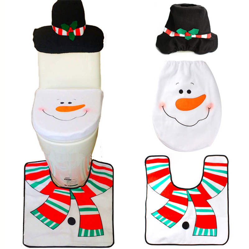 1 sets christmas decorations xmas toilet seat cover and - Decorative toilet seat covers ...