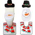 1 sets Cubierta de Asiento de Inodoro y Alfombra de Aseo Set de Navidad Decoraciones de Navidad Muñeco de Nieve decorativo cubre asiento del inodoro tapas Promociones