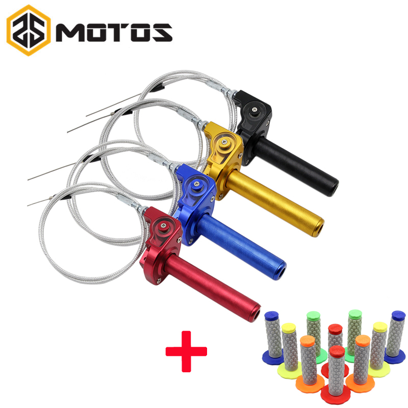 ZS MOTOS CNC Aluminum Throttle Grip Quick Twister + Throttle Cable fit on CRF50 70 110 IRBIS 125 250 Dirt Bike Motorcycle beler motorcycle motocross push pull throttle cable assembly assy fit for yamaha pw80 1985 2007 bw80 1986 1990 dirt motor bike