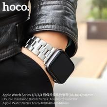 HOCO Bracelet en acier pour hommes, Compatible avec Apple Watch série 5 4 3 2 1, adaptateur daccessoires pour Iwatch 44mm 42mm 40mm 38mm