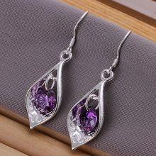 wholesale silver plated earrings,925 fashion Silver jewelry purple stone drop Earrings for women SE207