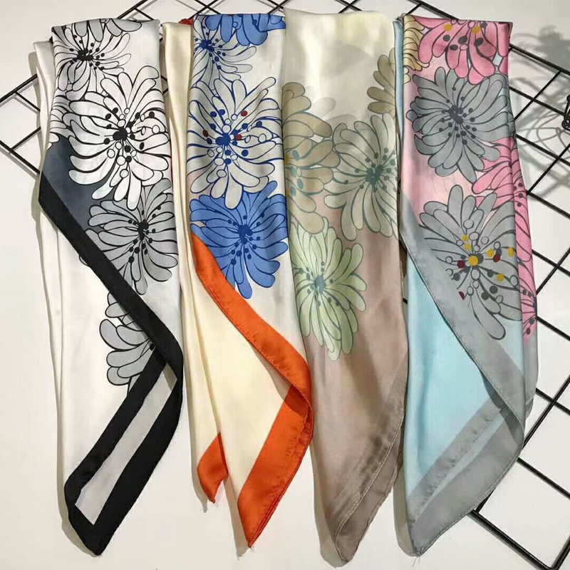 Flower Print Neck Wraps Fashion Color Block Scarf Women Foulard Bandana Small Square Office Kerchief 70X70cm Head Scarves NEW