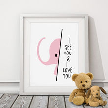 Nursery Art Print Elephant, Cute Baby Gift Safari Modern art Babys Room, Canvas Art Posters Painting Wall Pictures, No Frame