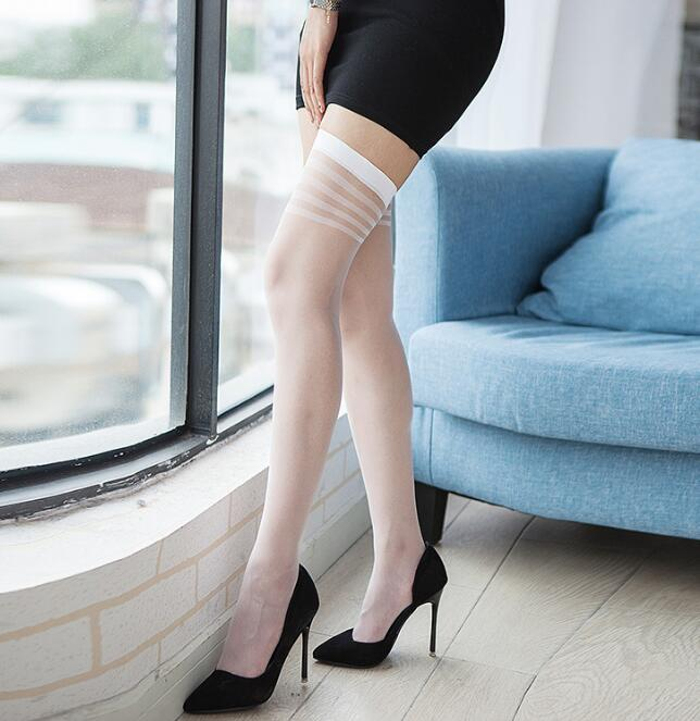 2019 NEW Sexy Stockings Medias Compression Nylon Long Thigh High Stockings Thin Women Summer Black Beige White Grey 4 Color
