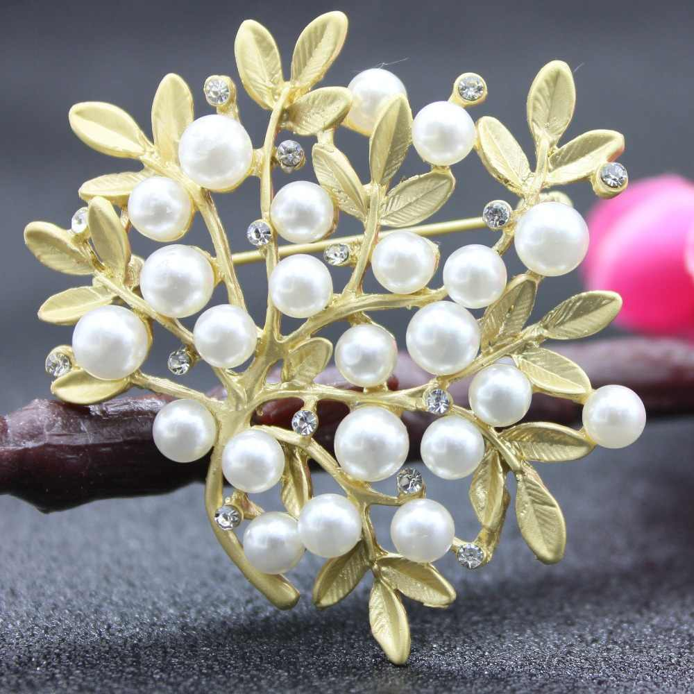 黄金の花のブローチアクセサリーギフトパールエナメルピンゴールデンローズブローチ金属ラペルピンヴィンテージカールジュエリー