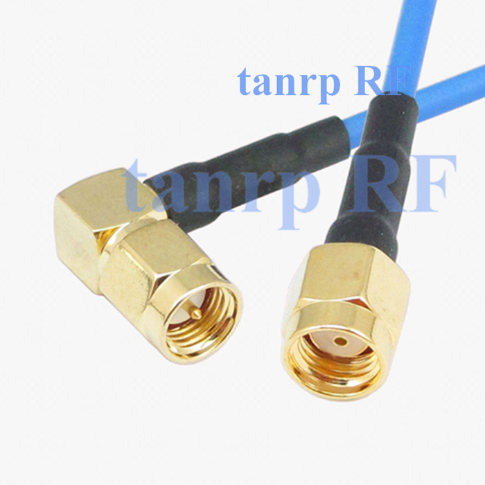 15CM coaxial Sexi Flexible blue jacket jumper extension cable RG405 6in RP SMA male to SMA male right angle RF 3G 4G router WIFI