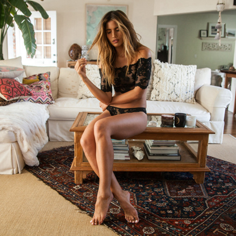 Lace Bralette & Panties, Sexy Women's Plunge Underwear Set, Bra & Brief Set, Transparent Black See Through Tube Top 16