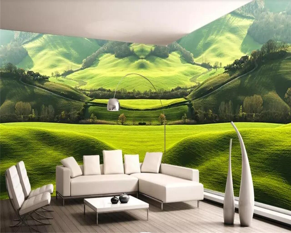 Beibehang Custom wallpaper natural green prairie landscape theme space full house background wall home decoration 3d wallpaper in Wallpapers from Home Improvement