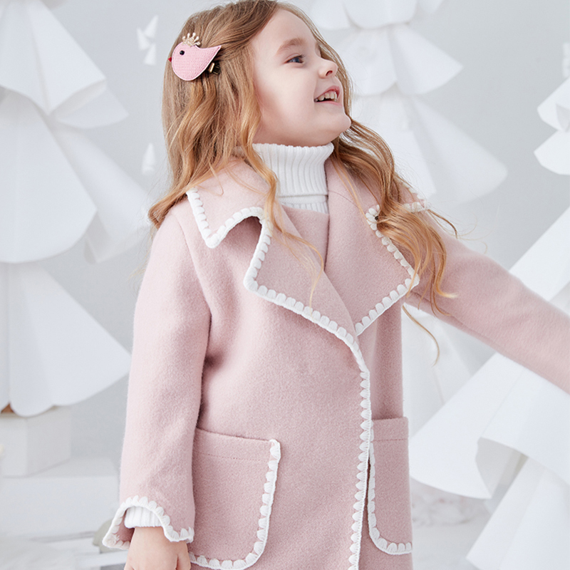 2018 Winter Girls Princess Jacket Wool Coat Floral Lace Sweet Macaron Color Elegant Outwear for Kids Age 2 3 4 5 6 7 8Years Old
