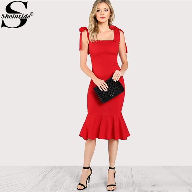 0a9f350895 Sheinside 2018 Ruffle Party Sukienka Czerwona Sukienka Bez Rękawów Wysokiej  Talii Fishtail Z Wiązanej Pasek Kobiety