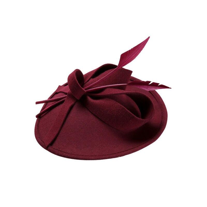 Fascinators invierno sombreros para mujeres elegante negro vino rojo lana  fieltro Pillbox sombrero niñas dama Formal Iglesia vestido de novia 400e0e9cbc9