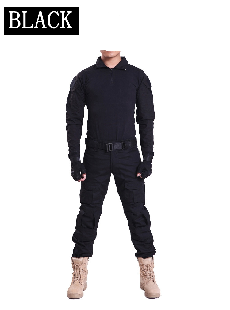 Black Men Army Military Equipment Airsoft Paintball Shooting Combat Gen2 Tactical Pants Shirts with Knee Elbow Pads
